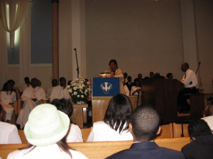 Speaking to congregation Memorial Baptist Church